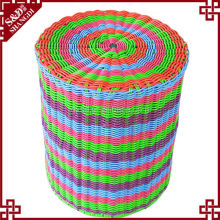 S.D bright multi colored PE rattan iron frame round ottoman