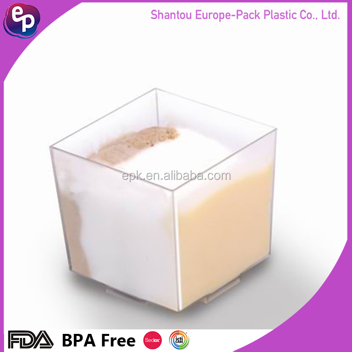 Plastic mini 60ml disposable clear Europe pack plastic dessert tasting cup