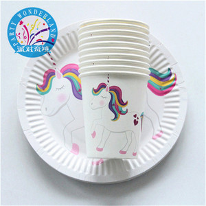 Cartoon Party white Unicorn Paper Cups Plates Disposable Party Supply Wedding Kids Birthday Party Decoration 2018 Supplies