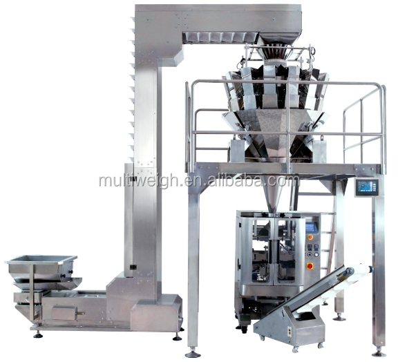 Potato French Fries Chips Grain Food Automatic Packing Machine with 10 Head Weigher