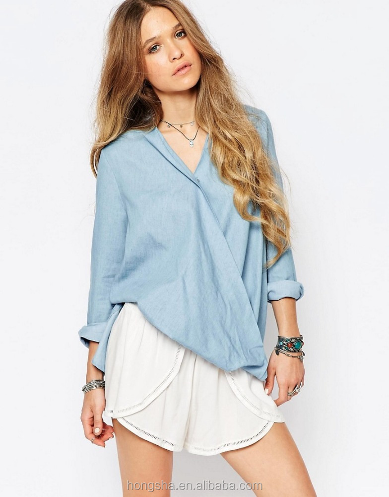 Latest Fashion Blouse Designs Glamorous Wrap Front Top In Chambray Shirts For Women 2016 Hst5102