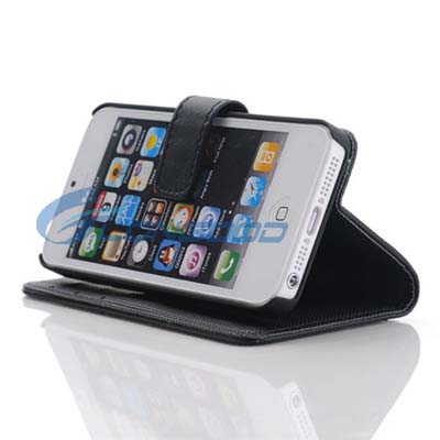 Pure Color Horizontal Flip Button Leather Case with Credit Card Slots & Holder for iPhone 5 5G (IP5G-029)