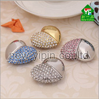 Manufacturing novelty Promotional Gift Bling Rhinestone Heart Shaped Crystal diamond 8GB USB flash disk