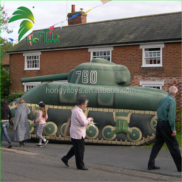 Big Inflatable Green Military Tank Mock Up / Inflatable Long Fake Decoy Ship