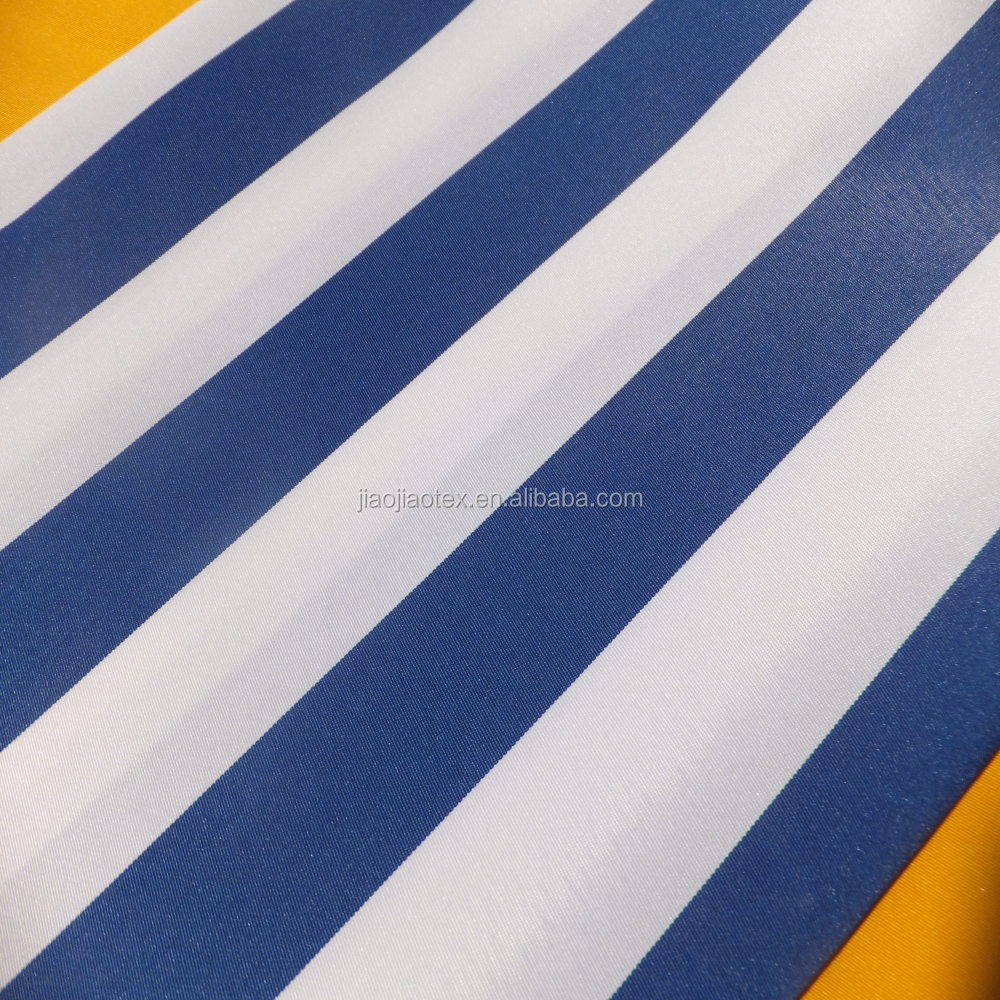 White Blue Stripe Outdoor Awning Waterproof 600D Polyester Fabric