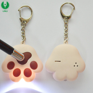 Wholesale Plastic Mini Cute Cat-pad Shape Led Sound Keychain