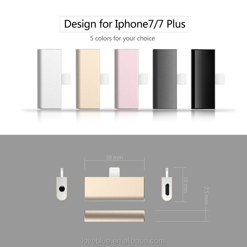 2in1 3.5mm earphone Jack Adapte For Phone 7 /7plus headphone adapter port with usb charging port