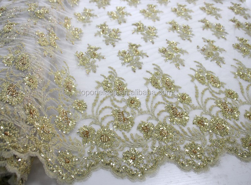 2016 China suppliers textile tulle beaded lace fabric wholesale/beaded french lace border/beading lace fabric embroidery