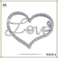 Brooch Making Supplies Real Plantinum Plating Heart Shape Brooch With Pearl