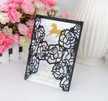 New arrival design luxury wedding invitation cards laser cut rose wedding invitations