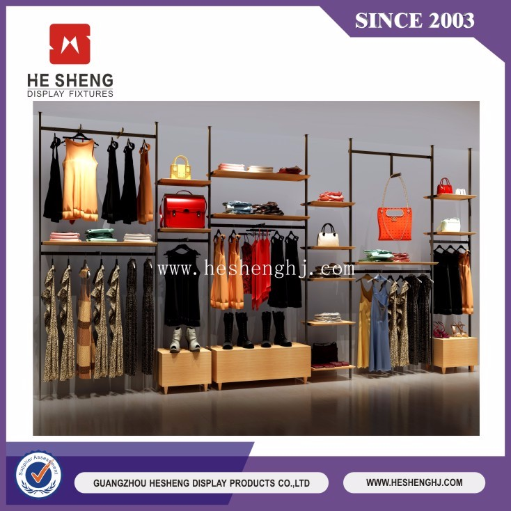 retail garment shop names display fixuture clothes hanging stand