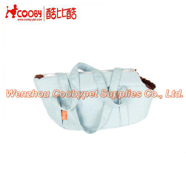 new products denim twill fabric pv fleece dog carrier, foam filling pet supply walking dog carrier