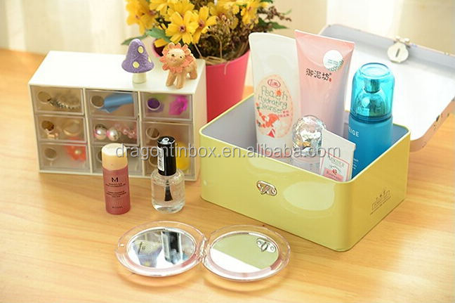 Wholesale high quality large rectangular storage cosmetics case/can/container tin box