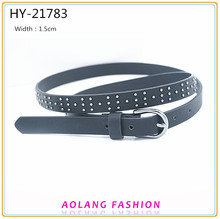 Wholesale Western Style Rhinestone black PU Ladies Belt With Rivets