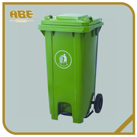 240L Outdoor plastic trashcan with two wheels waste bin