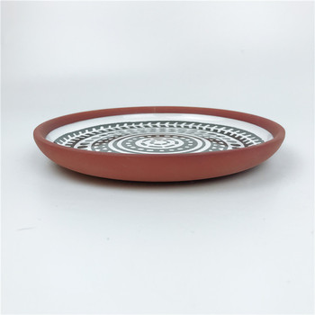 Ceramic Dinnerware Black Pattern Decal Terracotta Flat Round Dinner Plate