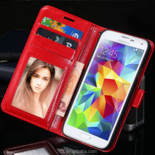 New Arrival For Galaxy S5 Mobile Phone Card Slot Cover PU Leather Case For Samsung I9600 With Strap RCD03856