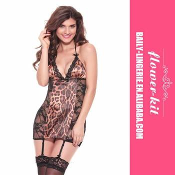 2016 High Fashion Sexy Leopard See-through Babydoll Sexy Lingerie Nightwear Ladies Sleepwear