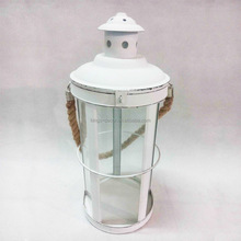 White graceful metal hurricane lantern with hemp rope good price