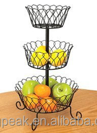2015 Best Selling 3-Tier Wire Basket/Chrome Metal Wire Hanger/3 tier fruit basket stand