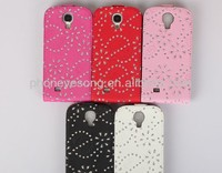 Luxury bling rhinestone flip leather case for samsung 9500 s4
