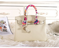 Factory direct sales nice quality 30cm Lychee cowhide leather women non designer handbags H-Y09 OEM custom logo