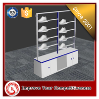 Durable wooden shoe store shine display stand for shoe shop design
