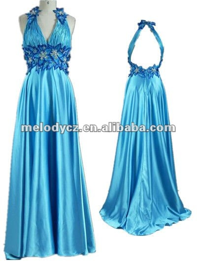Transend backless blue flower applique satin halter frock long dresses evening