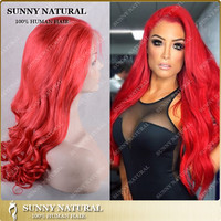 2016 Alibaba Express sexy red color wholesale brazilian human hair full lace wig lace front