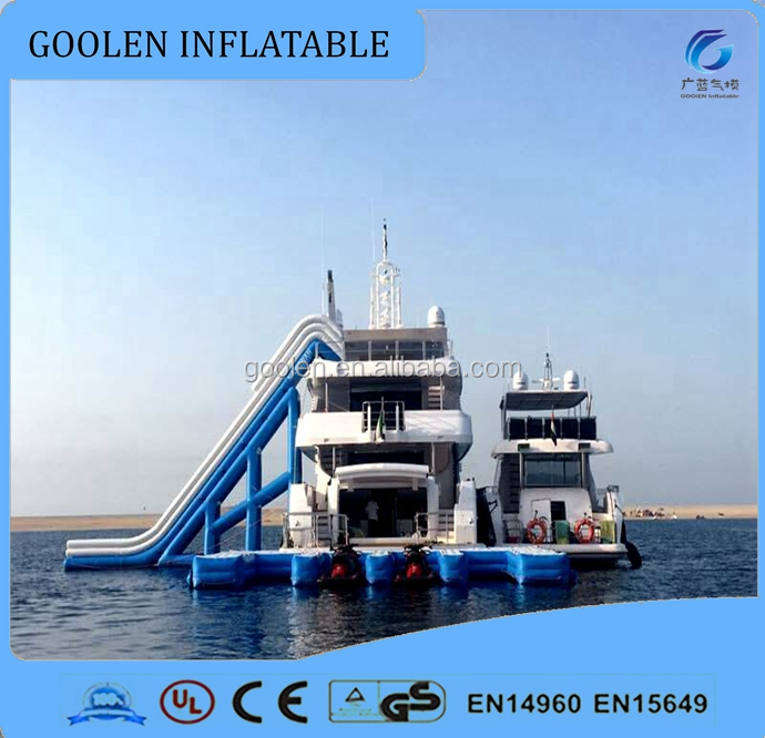 inflatable yacht floating water slide for sea, ocean water slide for boat