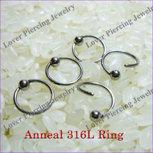 316L Stainless Steel Annealed Fixed Ball Nose Rings Body Piercing Jewelry [SS-N680]