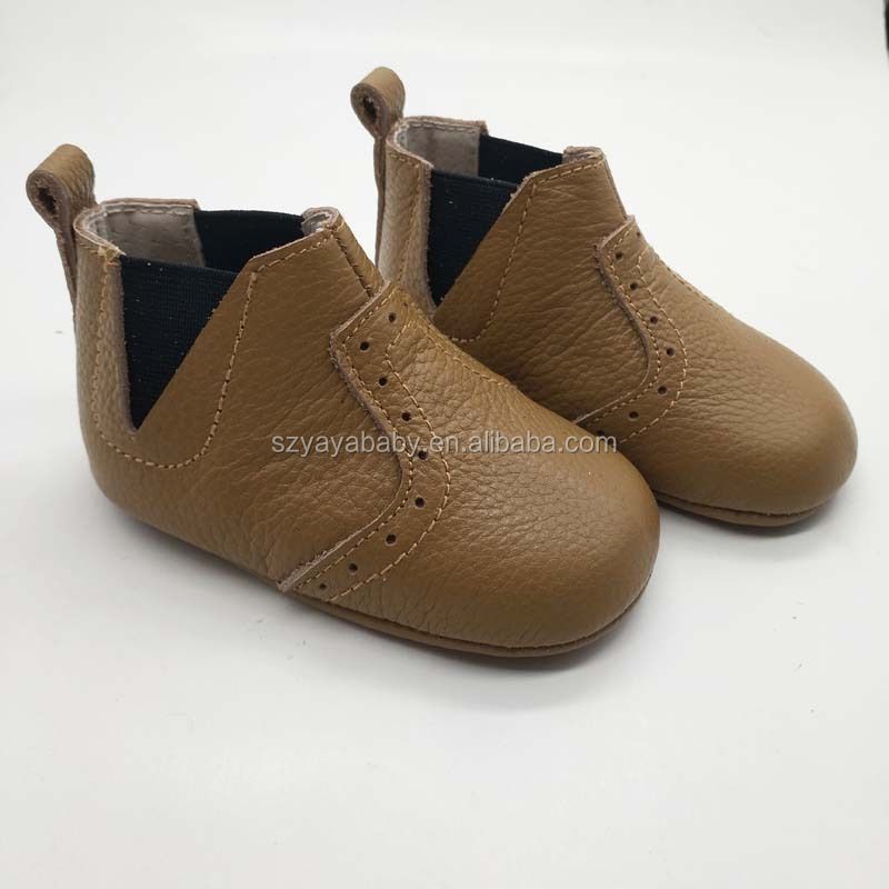 fashion design brown leather baby bootie factory LOWEST MOQ