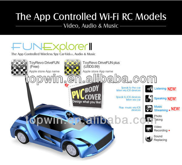 ISO and android controlled wifi rc mini car with audio video music&camra[CTW-019II] China Topwin rc car bodies camera wifi car
