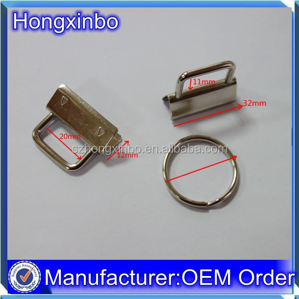 Hongxinbo custom high quality with/w split keyring 32mm key fob hardware