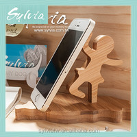 2016 New bamboo wood phone holder lazy bedside phone stand for cell phone