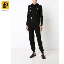 OEM service china supplier black cashmere 'Star' hoodie for women