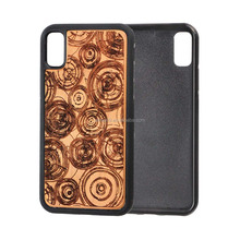 Wholesale Laser Engraving Wooden TPU Mobiles Cell Phone Cover Case for iPhone 8