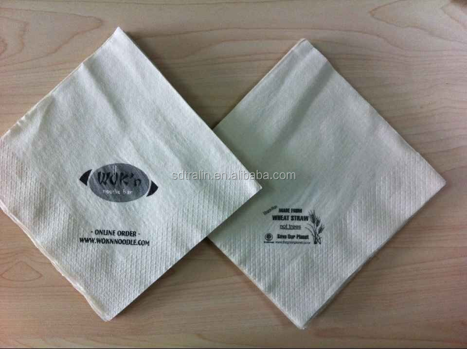 Natural color Printed Printing Print Paper Napkin with FDA food Grade made from wheat straw