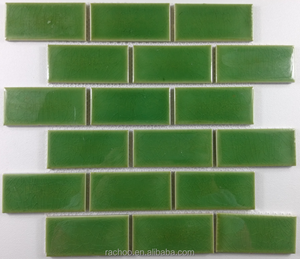 Low price green backsplash cracked ceramic mosaic tile kitchen use