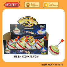 HY878-1 New promotional item toys flashing spinning top with music