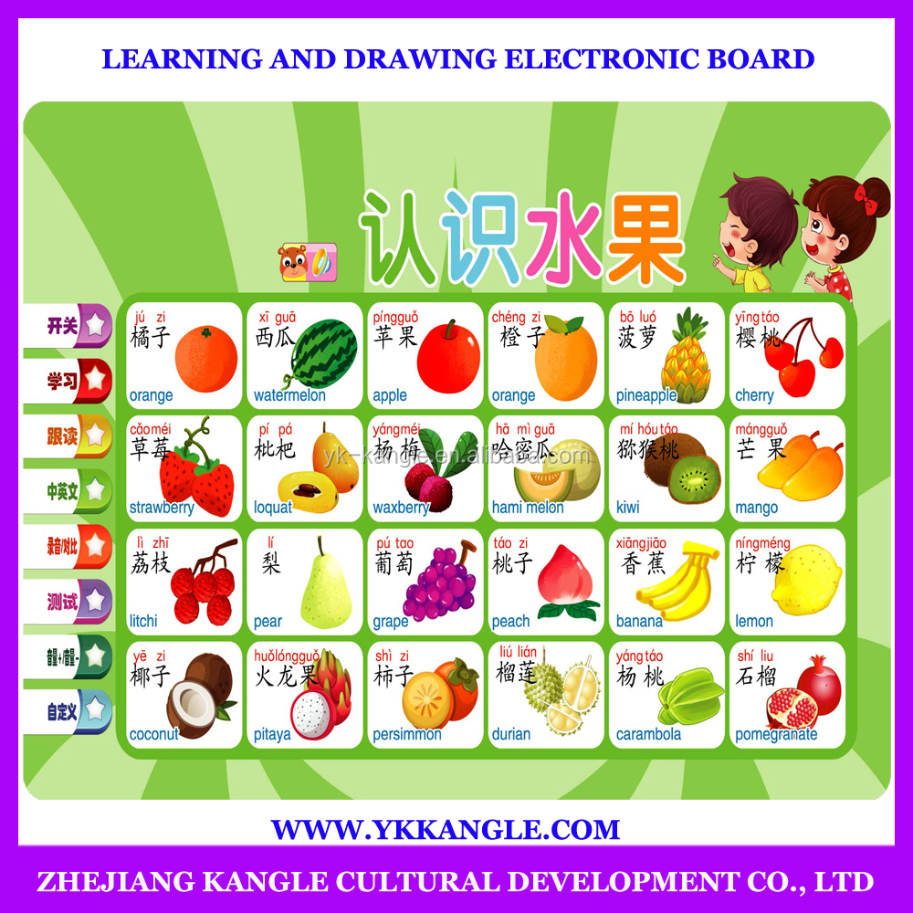 English fruit and vegetable learning chart ,kids educational wall charts