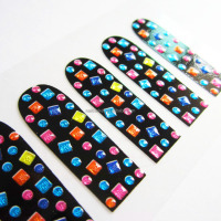 Colorful geomatic 3d nail art sticker custom nail polish strip waterproof metallic nail wrap manufacturer with EN71-3 test
