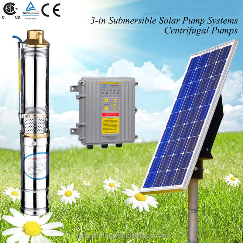 300W-1500W Solar Powered Brushless DC Pump, Stainless Steel Deep Well Submersible water Pump