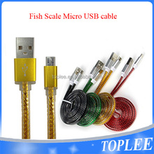 New design fish scale micro usb cable for samsung S4