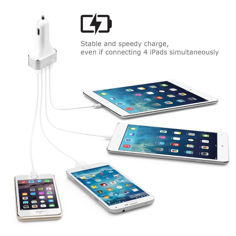Built in smart ic 4 ports usb 9.6A output hot car charger for universal smart devices
