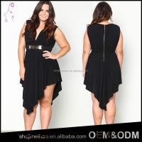 OEM Plus Size Black Color Open Breast Sexy V Neck irregular Short Front Long Back Fashionable Dress for fat Women