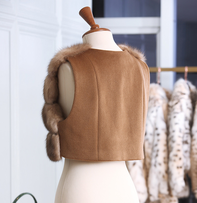 High Quality Cashmere Wool Mix Russian Sable Sobol Fur Vest