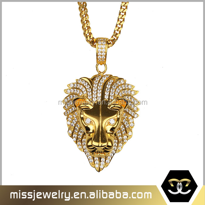 New arrival fashion animal shaped jewelry gold lion head pendant