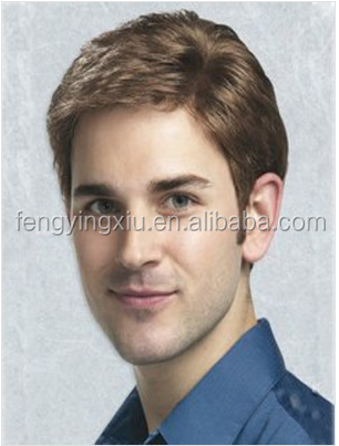100% human remy hair best quality James Hand-Tied Mens Wig
