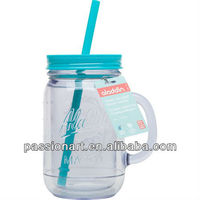 500ml New type Double Wall Plastic Tumbler Beer Cup with lid and straw